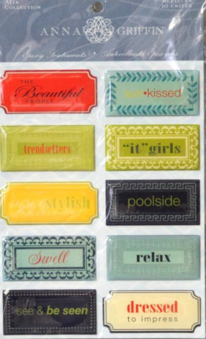 Anna Griffin Alix Collection Epoxy Sentiments Stickers - SCRAPBOOKFARE