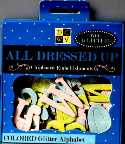 Die Cuts With A View All Dressed Up Colored Glitter Chipboard Alphabet Embellishments - SCRAPBOOKFARE