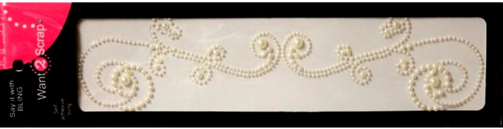 Spellbinders Want 2 Scrap Say It With Bling White Pearls Self-Adhesive Allure Swirl Embellishments