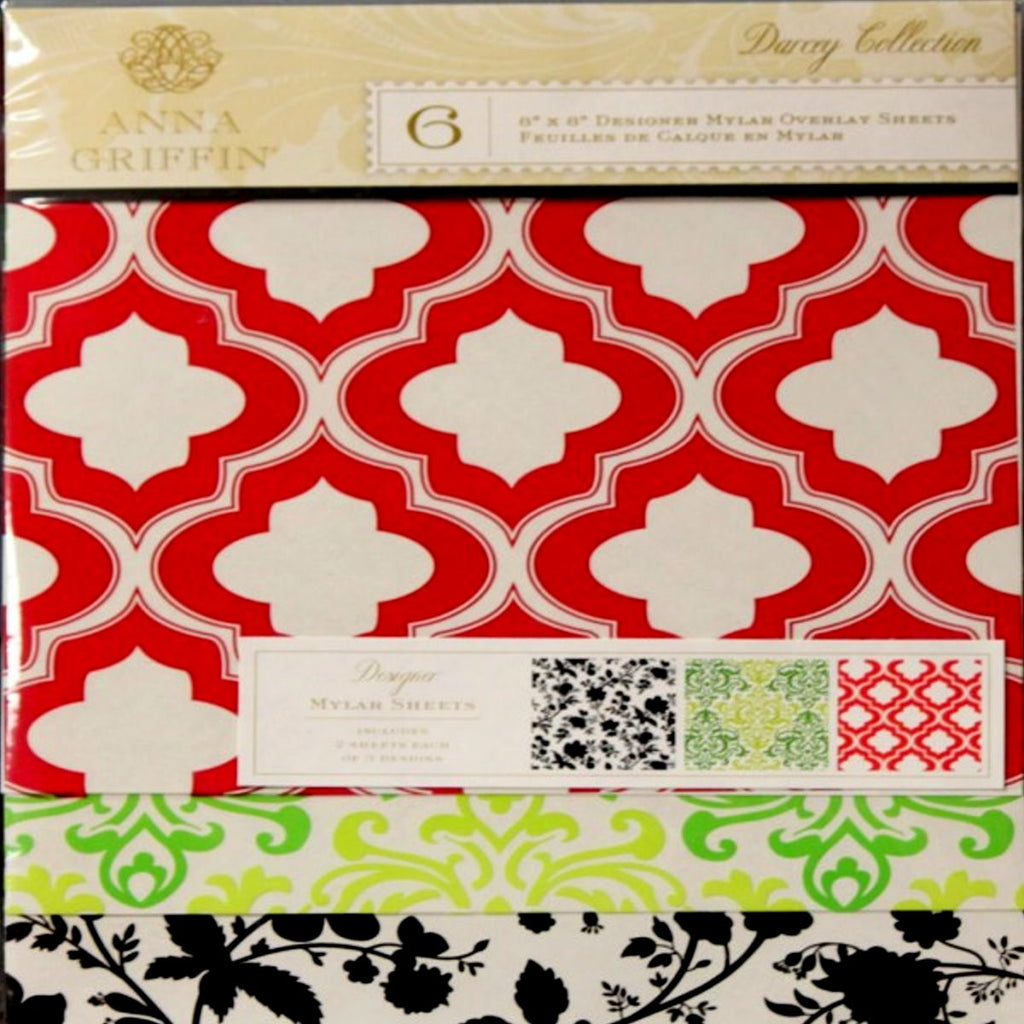 Anna Griffin Darcey Collection 8 x 8 Designer Mylar Overlay Sheets - SCRAPBOOKFARE