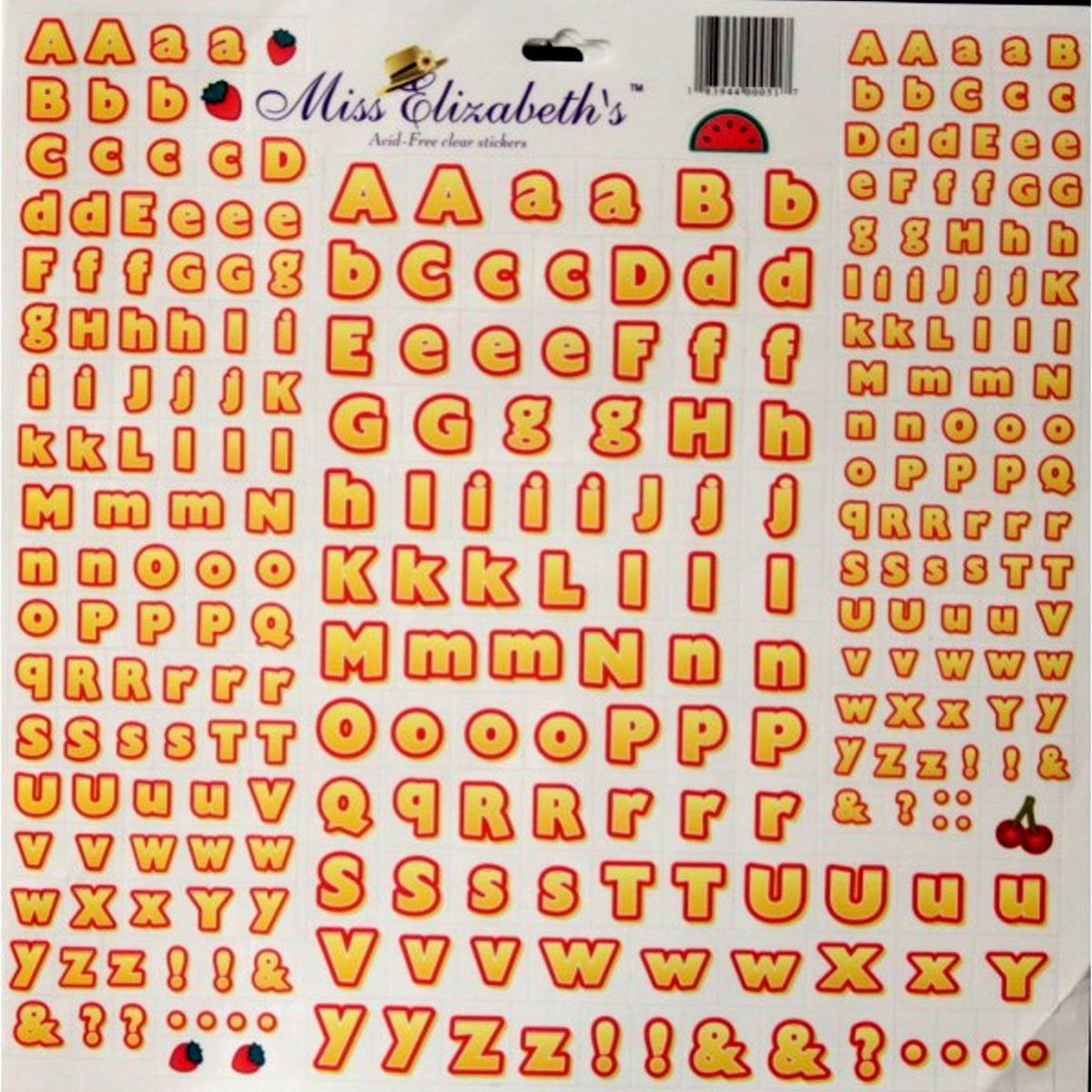 Miss Elizabeth's 12 x 12  Yellow & Red Alphabets Clear Stickers Sheet - SCRAPBOOKFARE
