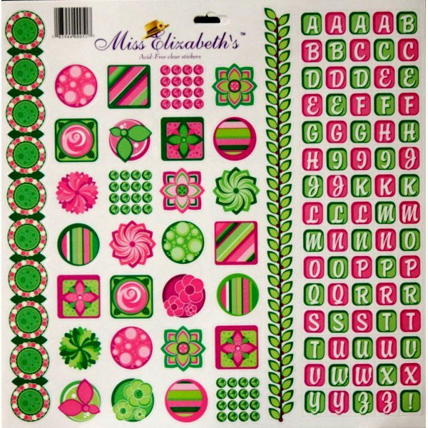 Miss Elizabeth's 12 x 12  Pink, Green & White Mixed Media Alphabets & Icons Clear Stickers Sheet - SCRAPBOOKFARE