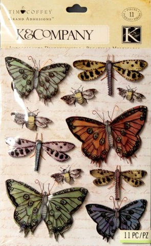 K & Company Tim Coffey Blossomwood Butterfly Icon Grand Adhesions Dimensional Stickers - SCRAPBOOKFARE