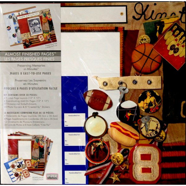 Paper Reflections Almost Finished 12 x 12 Sports Page Scrapbook Pages Kit - SCRAPBOOKFARE
