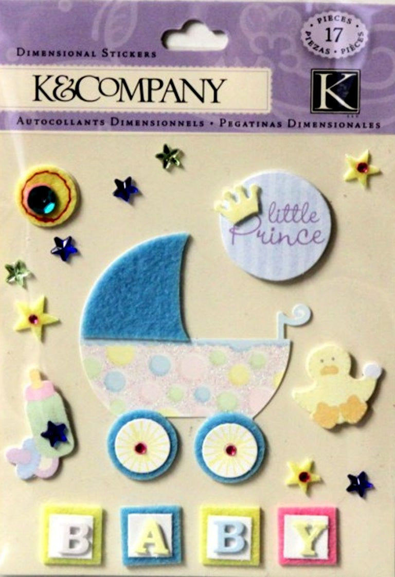 K & Company Little Prince Baby Boy Dimensional Stickers - SCRAPBOOKFARE