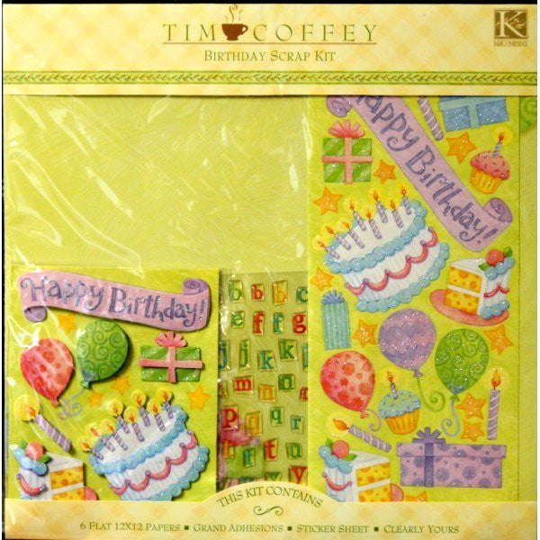 K & Company Tim Coffey 12 x 12 Birthday Scrapbook Pages Kit - SCRAPBOOKFARE