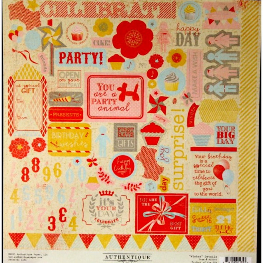 Authentique Wishes Details Cardstock Stickers Sheet - SCRAPBOOKFARE