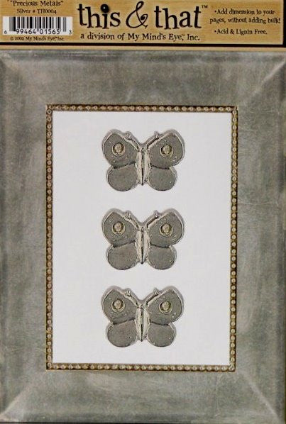 My Mind's Eye This & That Precious Metals Silver Die-cut Frame & Embellishments - SCRAPBOOKFARE