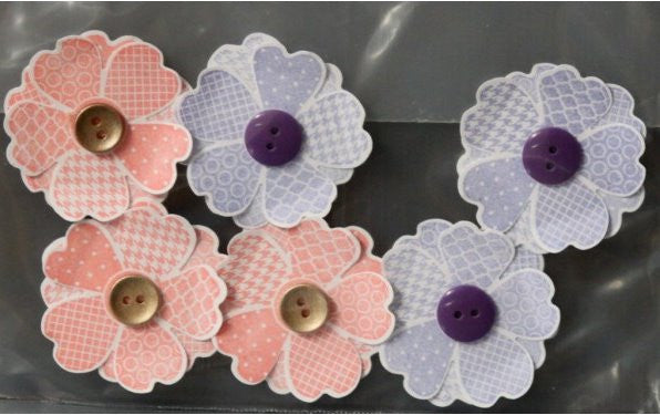 Handmade Purple & Salmon Button Flowers Embellishments - SCRAPBOOKFARE