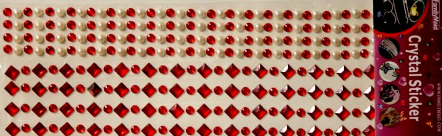 Family Maid Self-Adhesive Ruby Red Crystals & Pearls Embellishments - SCRAPBOOKFARE