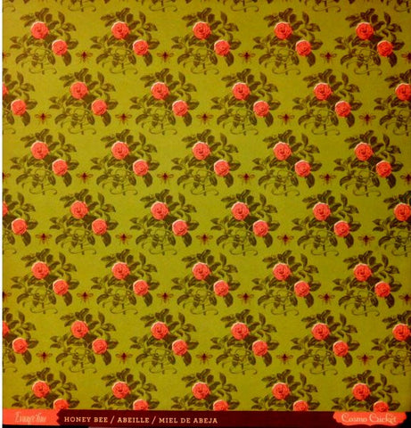 Cosmo Cricket Evangeline Honey Bee Double-Sided Flat Floral Designer Scrapbook Paper - SCRAPBOOKFARE