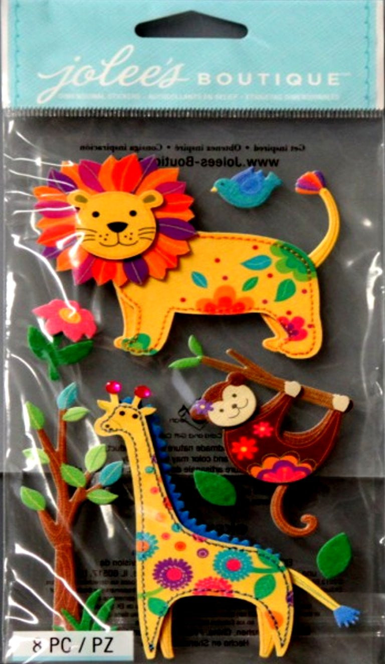 EK Success Jolee's Boutique Stitched Fabric Colorful Jungle Animals Dimensional Stickers - SCRAPBOOKFARE