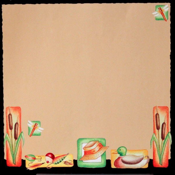 Hunting & Fishing 12 x12 Scrapbook Paper - SCRAPBOOKFARE