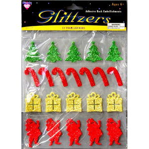 Nicole Christmas Glitter Dimensional Foam Stickers Variety Pack - SCRAPBOOKFARE