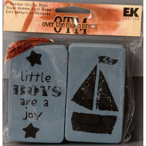 EK Success Over The Moon Press Wooden This Be Nice Little Boys Foam Stamps - SCRAPBOOKFARE