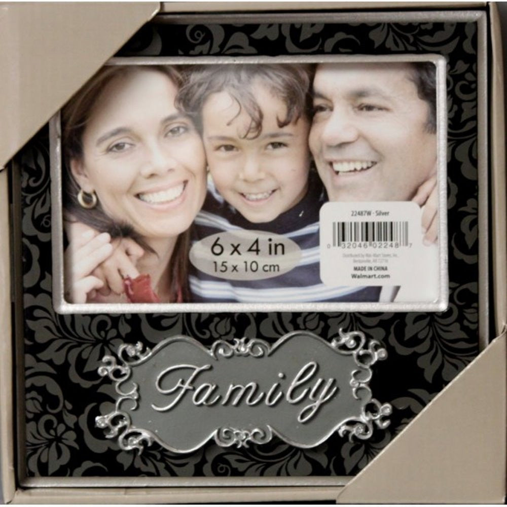 Burnes Home Accents Family Photo Silver and Black Photo Frame. - SCRAPBOOKFARE