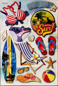 Premium Travel & Destination Dimensional 3-D Metallic Scrapbook Stickers - SCRAPBOOKFARE