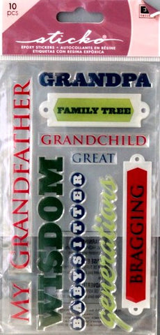 EK Success Sticko Grandpa Epoxy Stickers - SCRAPBOOKFARE