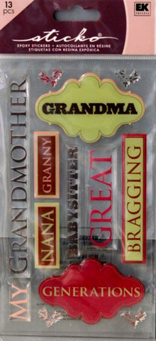 EK Success Sticko Grandma Epoxy Stickers - SCRAPBOOKFARE