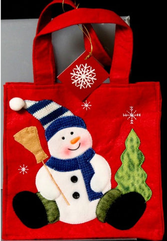 Cute Embroidered Christmas Snowman Handbag/Gift Bag - SCRAPBOOKFARE