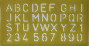 Alphabets & Numbers Dull Yellow Stencil - SCRAPBOOKFARE