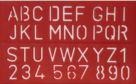 Alphabets & Numbers Red Stencil - SCRAPBOOKFARE