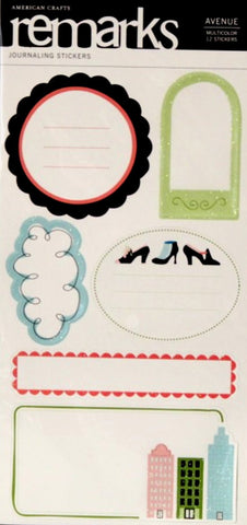 American Crafts Remarks Avenue Glitter Journaling Stickers - SCRAPBOOKFARE