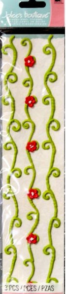EK Success Jolee's Boutique Green & Red Vine Icing Borders Stickers - SCRAPBOOKFARE