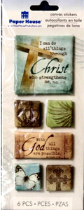 Paper House 3D Dimensional Canvas Religious Stickers - SCRAPBOOKFARE