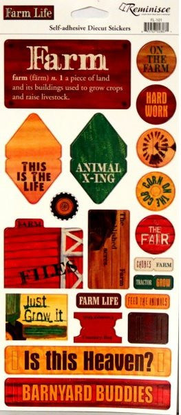 Reminisce Farm Life Self-Adhesive Diecut Stickers Sheet - SCRAPBOOKFARE