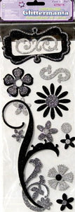 Forever In Time Glittermania Black & Silver Chipboard Embellishment Stickers - SCRAPBOOKFARE