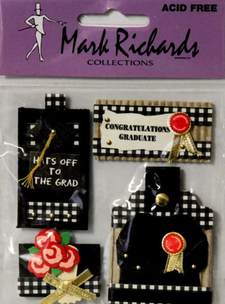 Mark Richards Collection Handmade Dimensional Graduation Stickers - SCRAPBOOKFARE