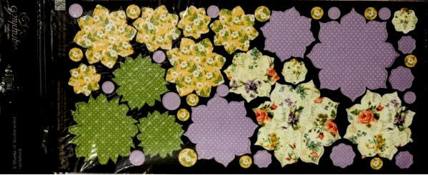 Graphic 45 Double-sided Secret Garden Flowers Collection Die-cut Punch-Out Embellishments - SCRAPBOOKFARE