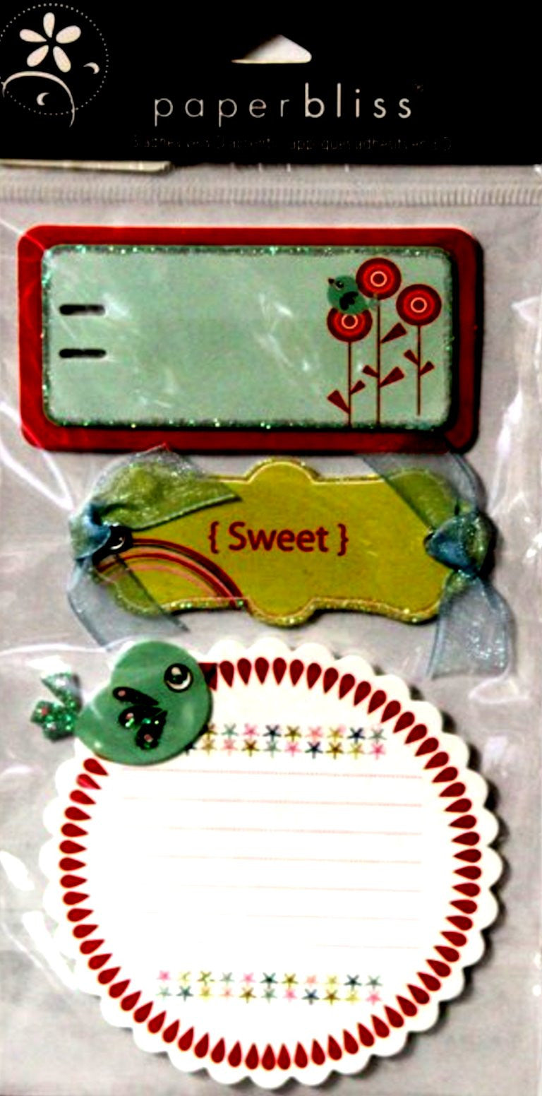 Westrim Crafts Paper Bliss Tweet 3-D Dimensional Adhesive Tags