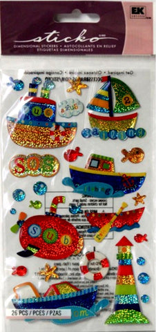 EK Success Sticko Dimensional Toy Boats Epoxy Prism Stickers - SCRAPBOOKFARE