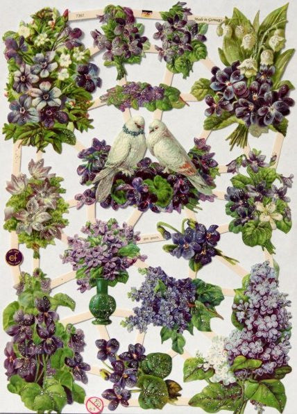 Vintage Purple Flowers Ges Gesch EF German Glittered Die-cuts