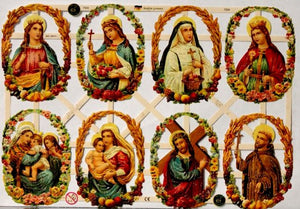 Vintage Holy Family Ges Gesch EF German Glittered Die-cuts