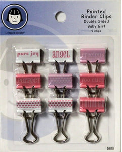 Li'l Davis Designs Painted Double Sided Baby Girl Binder Clips - SCRAPBOOKFARE