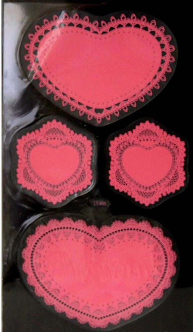 Special Moments Clear Pink Heart Lace Doily Stickers