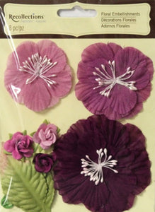 Recollections Signature Shades of Purple Sheer Material Flowers Embellishments - SCRAPBOOKFARE