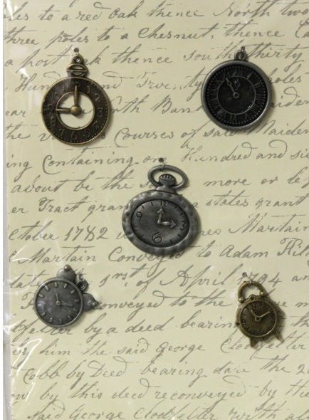 Metal ClockTime Pieces Charms Embellishments - SCRAPBOOKFARE