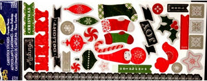 Little Yellow Bicycle Embossed Christmas Glitter Cardstock Stickers - SCRAPBOOKFARE