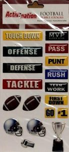 Markings Activnation Sports Football Epoxy Bubble Scrapbook Stickers - SCRAPBOOKFARE