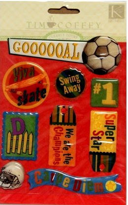 K & Company Tim Coffey Young Boy Sports Epoxy Stickers - SCRAPBOOKFARE