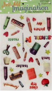 Just Add Imagination Epoxy Bubble School Scrapbook Stickers - SCRAPBOOKFARE