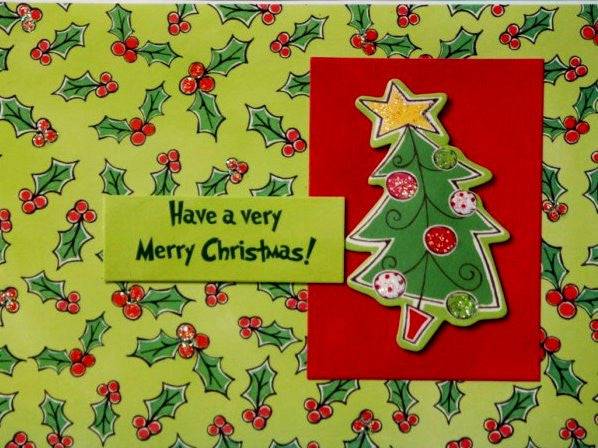 Scrapbookfare Christmas Have A Merry Christmas Handmade Dimensional Greeting Card - SCRAPBOOKFARE