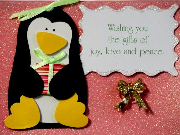 Scrapbookfare Christmas Wishing You The Gifts Of Love, Joy & Peace Handmade Dimensional Greeting Card