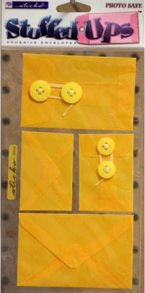 EK Success Sticko Stuffed Ups Yellow Self-Adhesive Envelopes Embellishments - SCRAPBOOKFARE