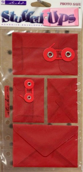 EK Success Sticko Stuffed Ups Red Self-Adhesive Envelopes Embellishments - SCRAPBOOKFARE