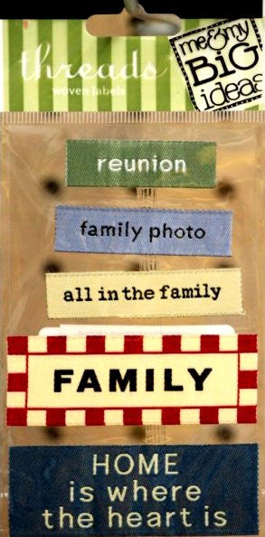 Me & My Big Ideas Family Threads Woven Labels - SCRAPBOOKFARE